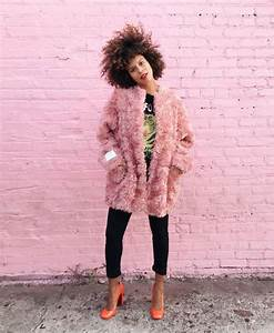 Coat tumblr fur coat pink fur coat pink coat pants black pants shoes pumps fall outfits ...