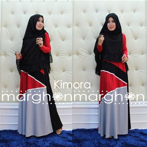 Krudung Merah kimora hitam merah baju muslim gamis modern