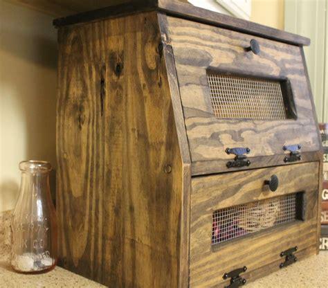 rustic bread box wooden vegetable bin storage primitive
