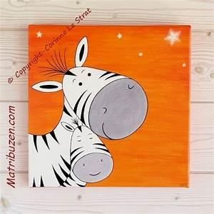 Tableau Chambre Enfant : tableau enfant chambre b b savane jungle zebre et sa maman ~ Teatrodelosmanantiales.com Idées de Décoration