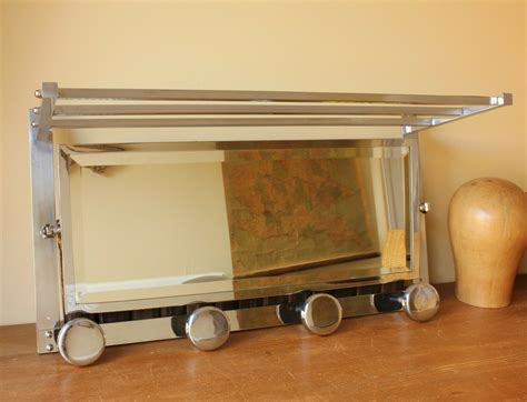 chrome luggage rack mirror french wall coat hat hook shelf