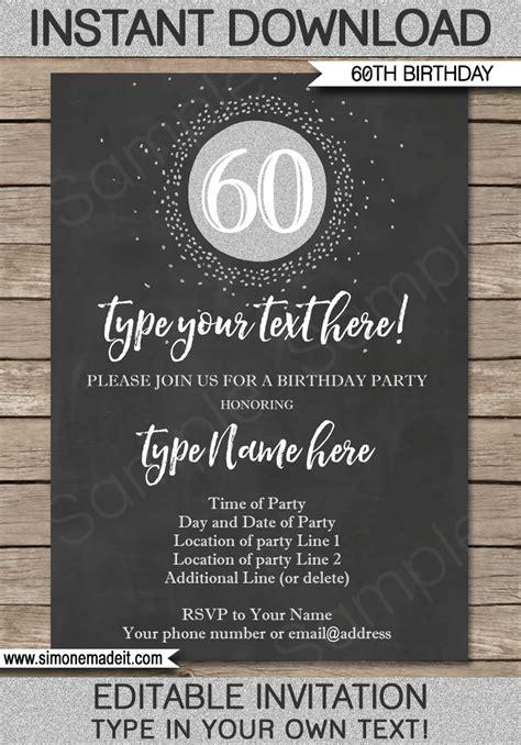 chalkboard  birthday invitations template editable