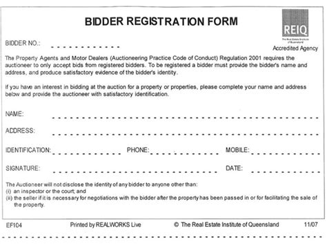 bidder statement template bidder registration form landmark harcourts mccathies