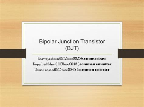 Bjt(common Base ,emitter,collector) From University Of