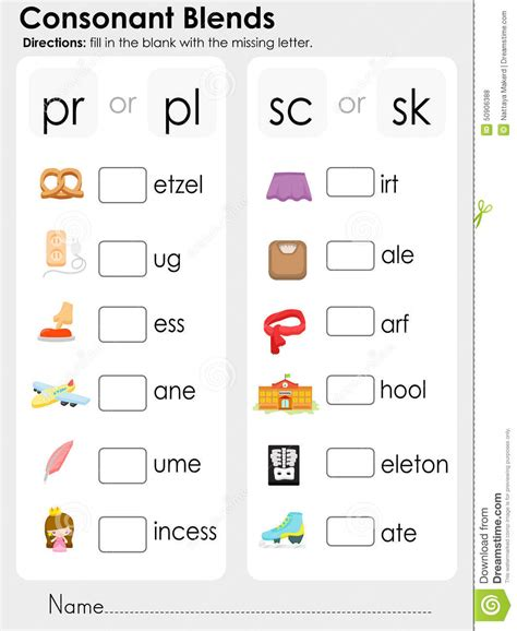 consonant blends missing letter worksheet education fill