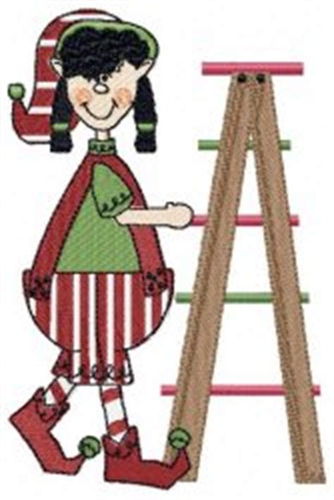 whats the name of zims elf on ladder with lights elves machine embroidery designs