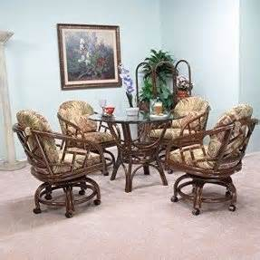 rattan dinette sets with caster chairs dining room chairs with casters foter