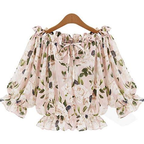 pastel flowery sleeves top blouse 25 bästa floral chiffon idéerna på