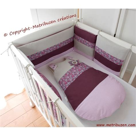 chambre bébé fille violet tour de lit gigoteuse personnalisé liberty fleurs pois