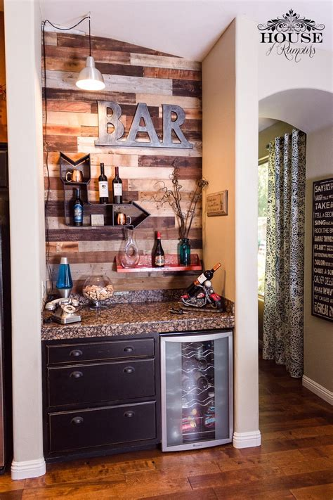 My after version of the coffee center pinned by another very talented person. Wine Bar Pallet Wall | Home bar designs, Home bar decor, Bars for home