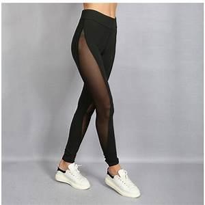 Black Full Mesh Patchwork Womenu0026#39;s Leggings Printed Yoga ...