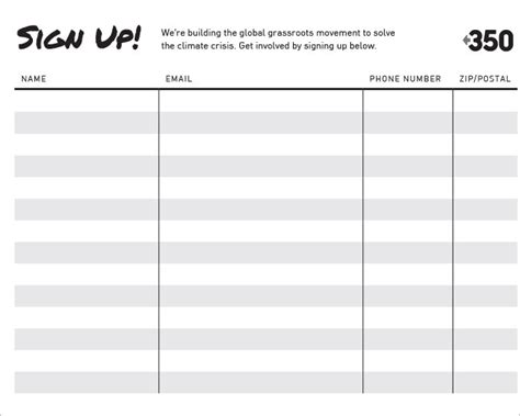 Blank Sign Up Sheet Pdf by Free Signup Sheets Clergy Coalition