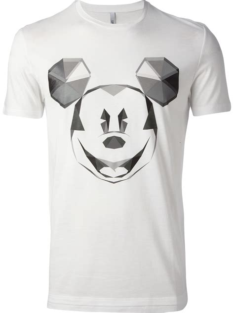 neil barrett mickey mouse print tshirt in white for lyst