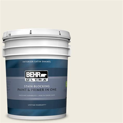 And after this, here is the 1st impression. BEHR ULTRA 5 gal. #YL-W05 Swiss Coffee Satin Enamel Interior Paint and Primer in One-775005 ...