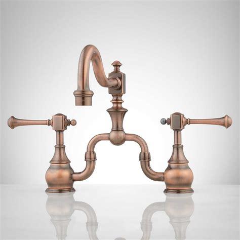 copper faucets kitchen signature hardware vintage bridge kitchen faucet with