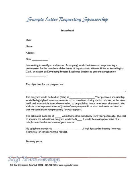 sample letter requesting sponsorship letterhead date