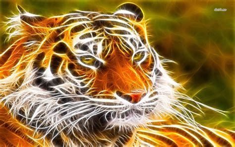 Digital Tiger Wallpaper by Glowing Tiger Wallpaper Digital Wallpapers 14333