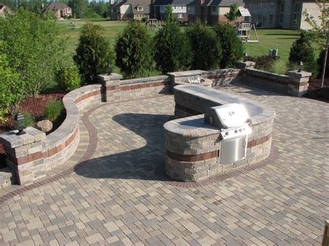paver patio built in grill with bar water feature landscape