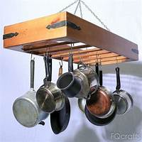pot and pan hanging rack Large Wooden Hanging Pot Rack - store pots, pans, and cookware from this ceiling mounted rack ...