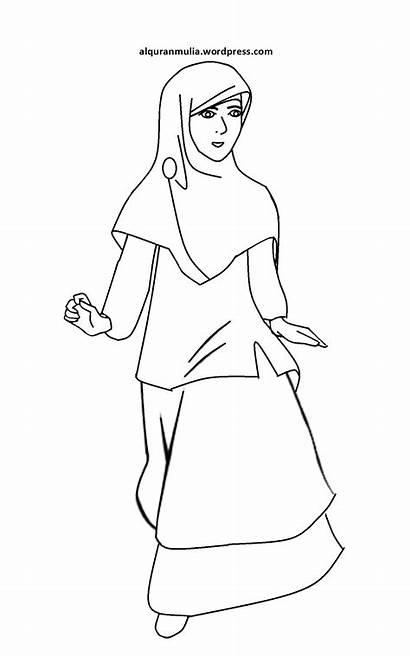 Kartun Gambar Mewarnai Sketsa Muslimah Anak Hijab