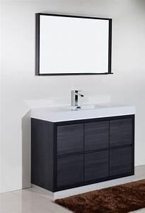 Bliss, 48, U0026quot, Gray, Oak, Free, Standing, Modern, Bathroom, Vanity