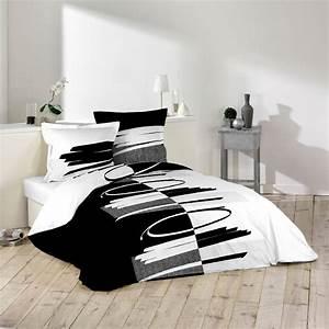 Parure De Lit Noir : housse couette noir et blanc housse de couette 240x260 pas ~ Melissatoandfro.com Idées de Décoration