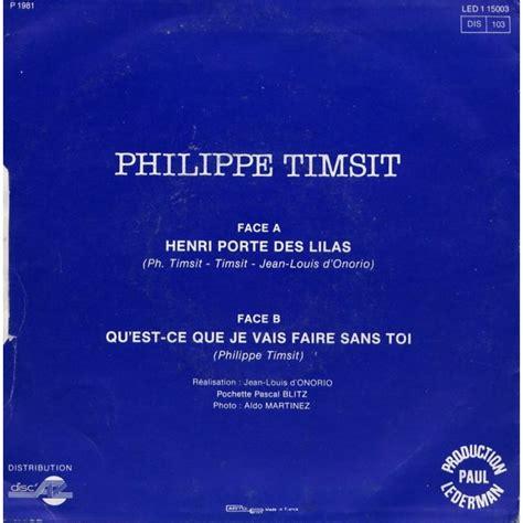 chanson henri porte des lilas henri porte des lilas de timsit philippe sp chez grigo ref 114850005