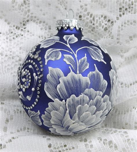 royal blue christmas ornament with hand by margotthemudlady