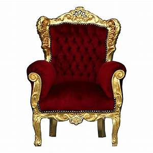 Children Trône Deep Red Velvet and Golden Solid Wood Frame