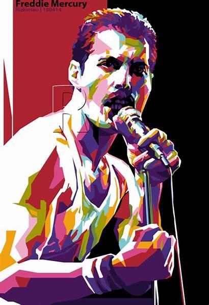 Mercury Freddie Queen Behance Pop Cartoon Rock