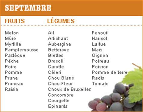 cuisine de saison septembre périodes de récolte et de consommation des légumes et fruits de saison en