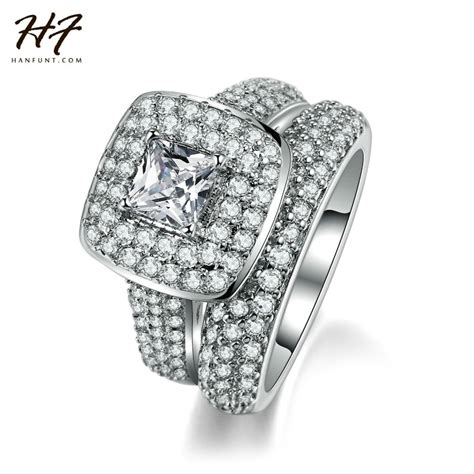aliexpress com buy herfans top quality luxury fashion engagement ring 2 pieces sliver color cz