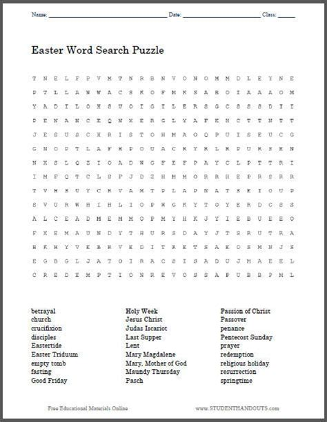 religious easter word search puzzle free to print pdf