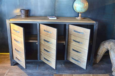 buffet rangement cuisine bahut industriel 3 portes bois massif métal micheli design