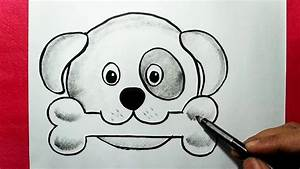 How to Draw An Easy Dog Face    Simple Dog Drawing with ...