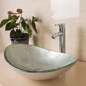 Bathroom Sinks Vessel Bowls by New Modern Bathroom Oval Glass Vessel Sink Bowls W Chrome
