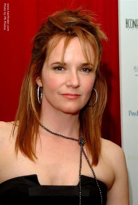 lea thompson wearing  hair partially       straightened sides