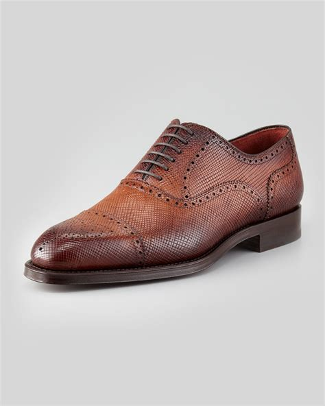 mens light brown oxfords magnanni grain leather brogue oxford light brown in brown