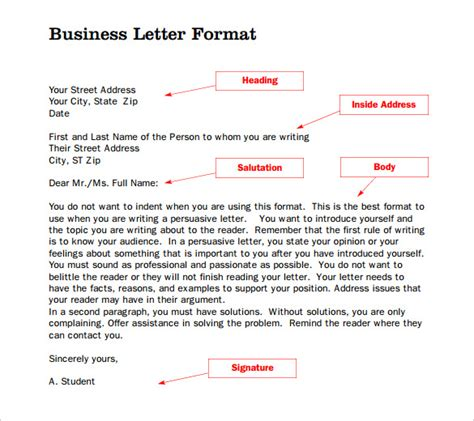 official letter format formal letter template 20 free word pdf documents 23834 | Format of Business Letter Template PDF Download