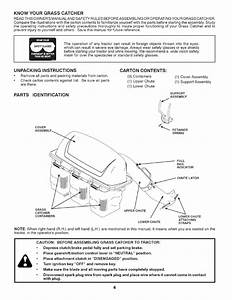 Know Your Grass Catcher  Unpacking Instructions  Parts