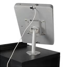 iPad Counter Mount w/ Locking Enclosure, Home Button Covered - Silver