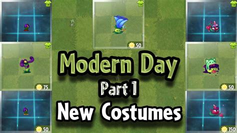 plants vs zombies modern plants vs zombies 2 all plants new costumes of modern day part 1