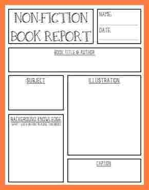fiction book report template middle school