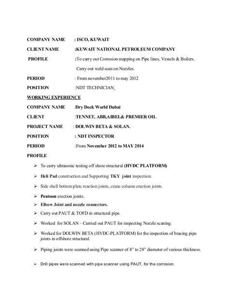 Ndt Technician Resume by Kader Ndt Resume