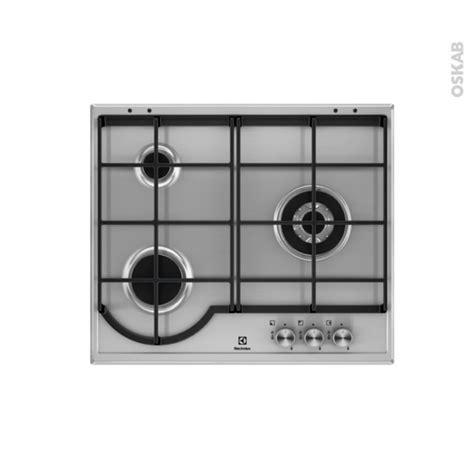 plaque de cuisine gaz plaque de cuisson 3 feux gaz 60 cm email inox electrolux