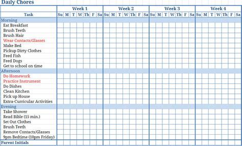 Chore List Template 9 Chore Chart Template For Adults Primary Write