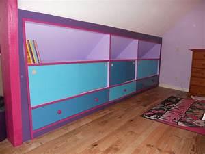 Meuble Pour Sous Pente : meuble souspente pour un chambre de fille brodie agencement ~ Melissatoandfro.com Idées de Décoration