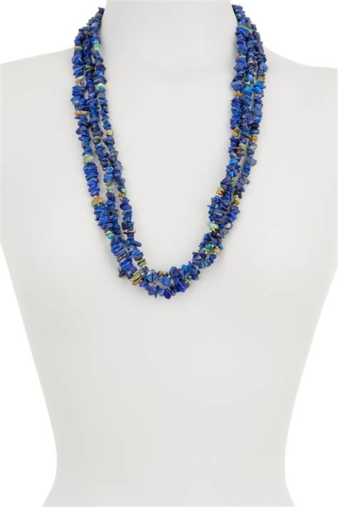 Stay up to date on the hottest jewelry trends with lulus! Peyote Bird Lapis & Turquoise Layered Necklace in Blue - Lyst