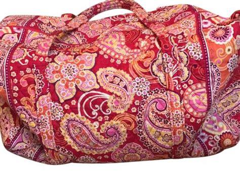 vera bradley red pink orange quilted cotton retired pattern raspberry fizz duffle weekend