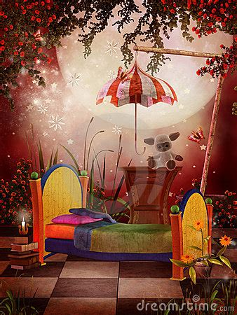 red fantasy bedroom royalty  stock  image